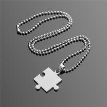 3a19670aea31 2 piezas de acero unids inoxidable Collar para hombre mujer parejas puzle  colgante amor collar conjunto mejor amigo plata jigsaw.