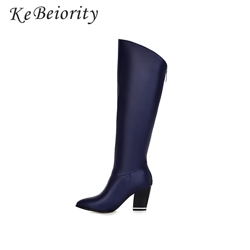 KEBEIORITY Chunky High Heel Knee Boots Women Autumn Riding Boots for Women Blue Black Thick Heel Pointed Toe Boots Leather 2017 ...