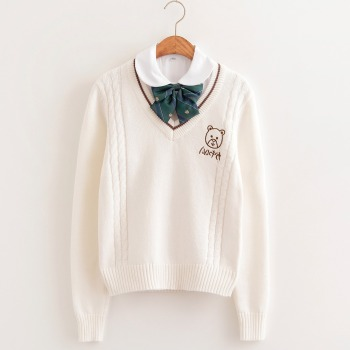 цена на Kawaii Cute Bear embroidery college style Japan soft sister JK V-neck Long sleeves knitted Couple sweater