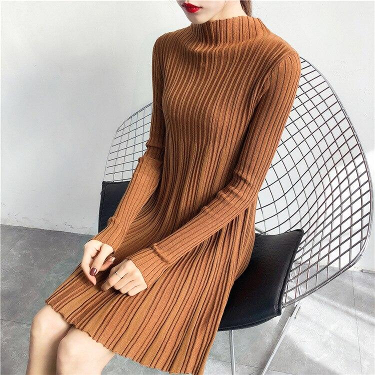 Autumn Winter Women knitted Dress 2018 New Casual Bodycon Elegant Office Work Long Sleeve Slim Bodycon Sweater Dress L315