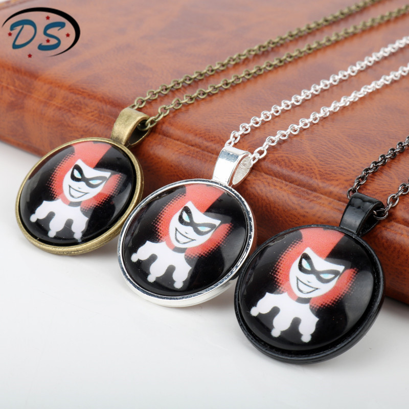 Girls Women Accessories Vintage Glass Dome Pendant Necklace Suicide Squad Movie Jewelry Harley Quinn Choker Necklace
