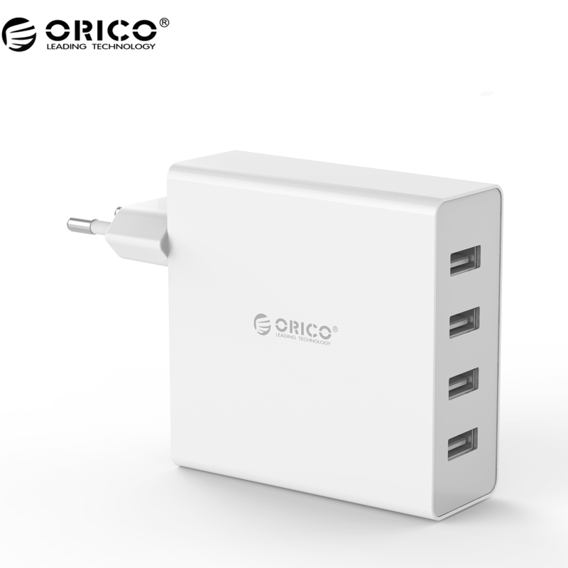 ORICO DCW-4U 4-Ports Wall USB Phone Charger 5V2.4A*4 6A30W Total Output for iphone 7- Black/White