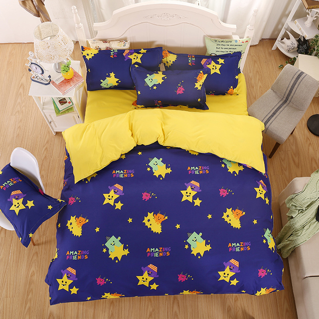 Home Bedding Sets Children S Yellow Bed Monster Summer Good Quality Sheets Quilt Cover Pillowcase King Queen Full Twi