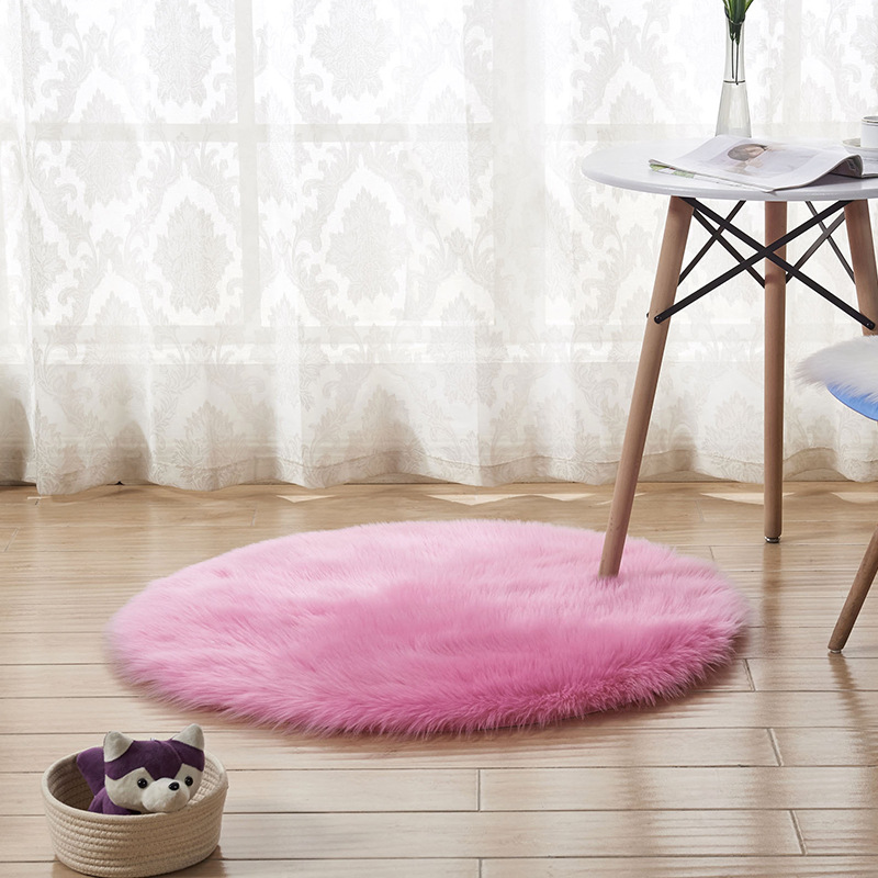 Plush Fabric Round Carpet for bedroom soft shaggy area rug for kids room bed chair floor mat round artificial sheepskin rugs