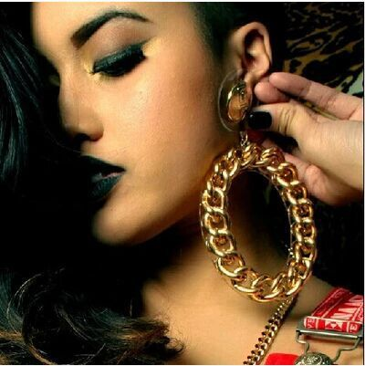 Nightclub fashion jewelry chain designs big exaggerated hoop earrings women accessory