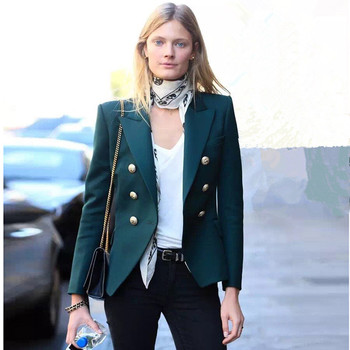 High quality designer buttons women jackets New 2018 fashion double breasted blazers coat Chic OL coats S455