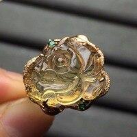 Fine Jewelry Real 18K Rose Gold AU750 Natural Citrine Gemstone Diamonds Anillo Female Anniversary Gift Fine Rings
