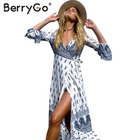 BerryGo Boho Floral Print Chiffon Split Long Dress Women Sash Wrap Maxi Sexy Dress Eleagnt Beach