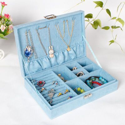 1Pc New Fashion Jewelry Display Velvet Slots Earring Ring with cover and lock Tray Organizer Holder Case Box jewellry