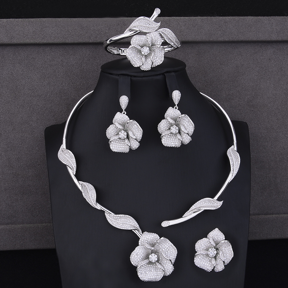 4PCS Women Jewelry Sets Flower Shape Cubic Zirconia Collar Necklace Dangle Earrings Bracelet Ring Jewelry Sets Wedding Wear 4pcs trendy flower shape indian jewelry sets cubic zirconia collar necklace stud earrings bracelet ring for women wedding