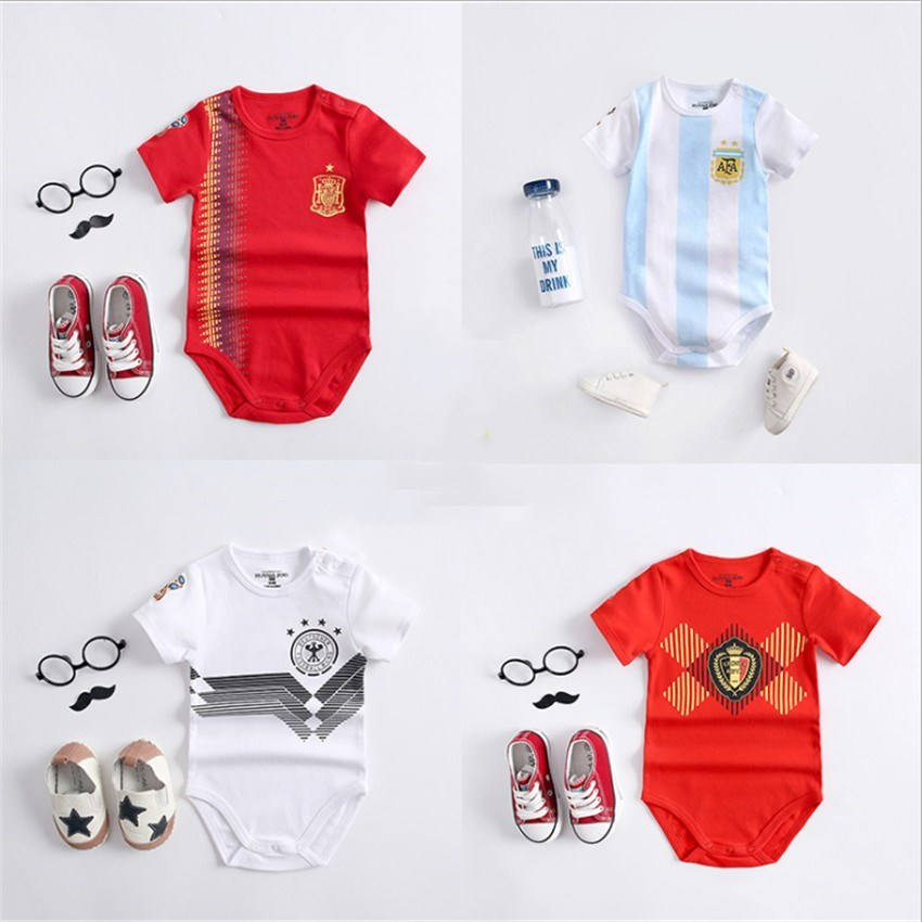 2018 Summer Unisex Kids Kit Jersey Brazil Germany France Home Away Soccer Jerseys Short Sleeve Children Boys Sports Jumpsuits