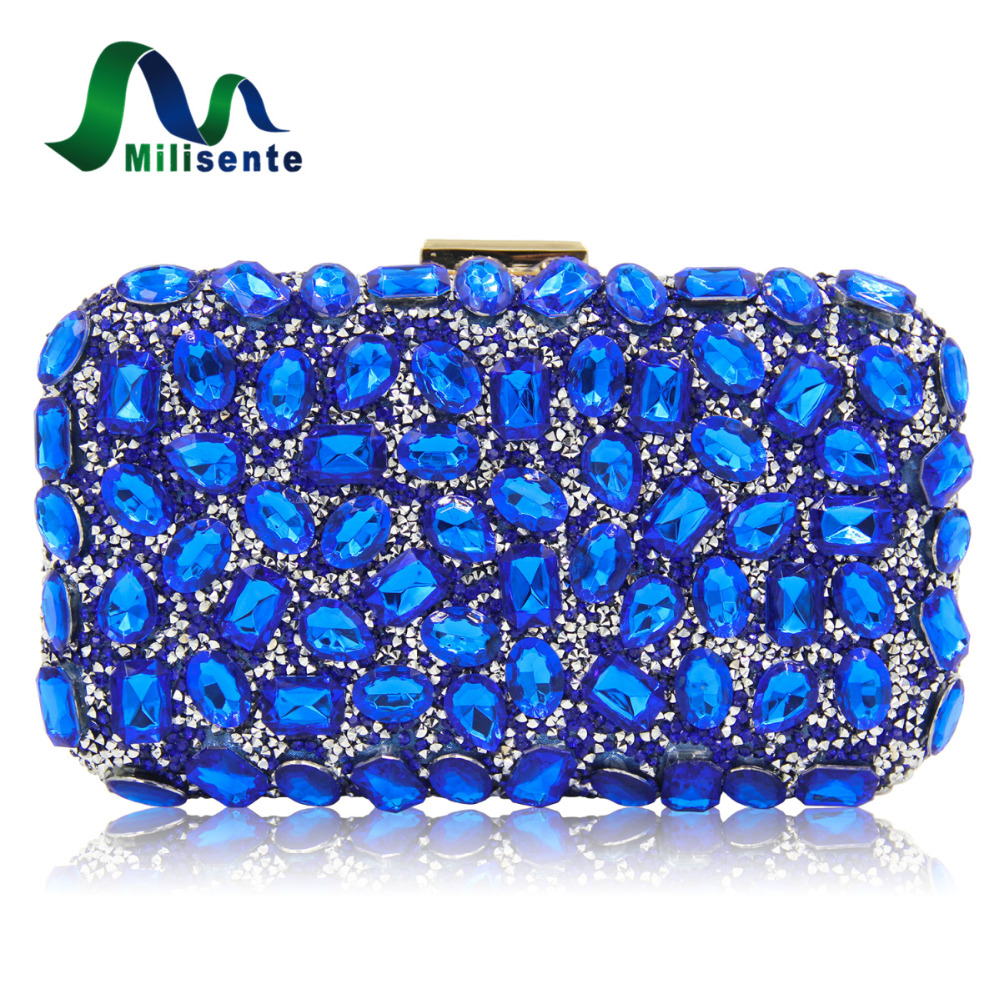 Milisente Women Evening Bag Gold Clutches Bags Blue Party Silver Wedding Party Purple Clutch Purses milisente high quality luxury crystal evening bag women wedding purses lady party clutch handbag green blue gold white