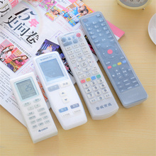 1pcs Silicone TV Remote Control Cover Air Condition Control Cover Waterproof Dust Protective Storage Bag Organizer Transparent