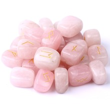 Natural Rose Quartz Rune Stones Engraved Lettering Crystal Set W/ Free Pouch Chakra Stone Reiki EN0500SY