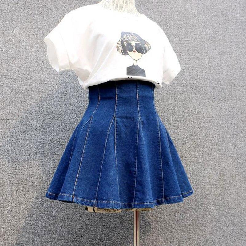 Denim Skirts Womens 2019 Sexy Pleated Korean Style Female Skirt School High Waist Tutu Mini Skirts Short Jeans Saia Jupe Femme girl