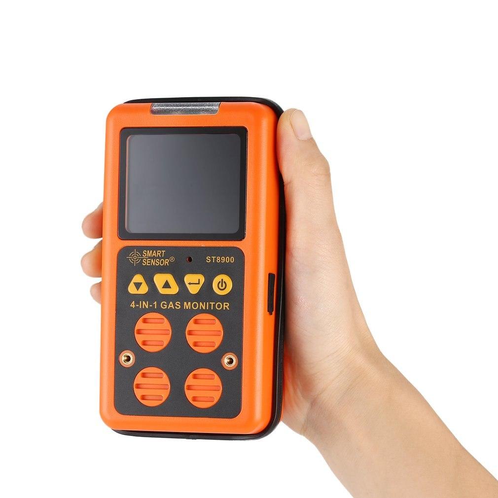 O2 LEL Rechargeable Gas Meter Oxygen Detector Meter,Smart Sensor ST8900 Multi-Gas Detector for CO US Plug H2S