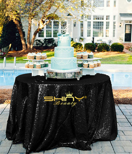 ShinyBeauty 72Inch Sequin Tablecloth-Round-Black-For Wedding/Christmas/Black Friday Party Linen (Black)-R