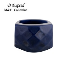 19MM Personalized Simple Design Fashion Blue Plastic Ladies Lord Thumber Rings For Women Men Alloy Jewelry