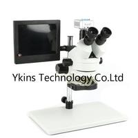 Simul Focal 7X 45X Zoom Trinocular Stereoscope + HD 16MP HDMI USB 1080P Digital Video Microscope Camera +144LED+8'' LCD