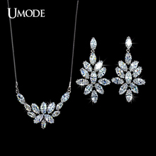 UMODE Trendy Wedding Jewelry Sets Including Marquise Cut CZ  Drop Earrings & Pendant Necklace For Women Bijoux AUS0018