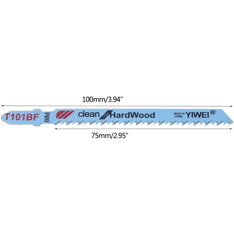 5 Pcs T101BF Bi-metal T-Shank Jigsaw Blades Cutting Tool Clean For Hardwood 649E