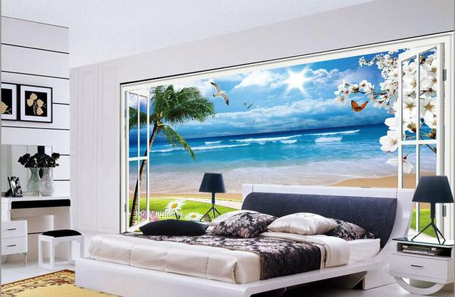 3d Wallpaper Custom Mural Non Woven Picture 3d Seagulls Coconut Trees  Outside The Window Painting