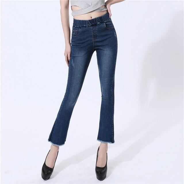 a7ff7d11848 Vintage Tassel Flare Jeans Woman 2019 Women Jeans Denim Elastic Waist Light  Washed Flare Pants Flared Jeans Plus Size Black Blue