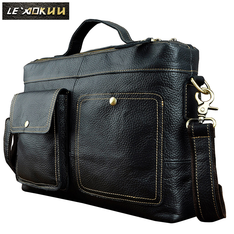 Mens Original Leather Design Business Briefcase Laptop Document Notebook Case Male Commercia Attache Portfolio Tote Bag 2119b