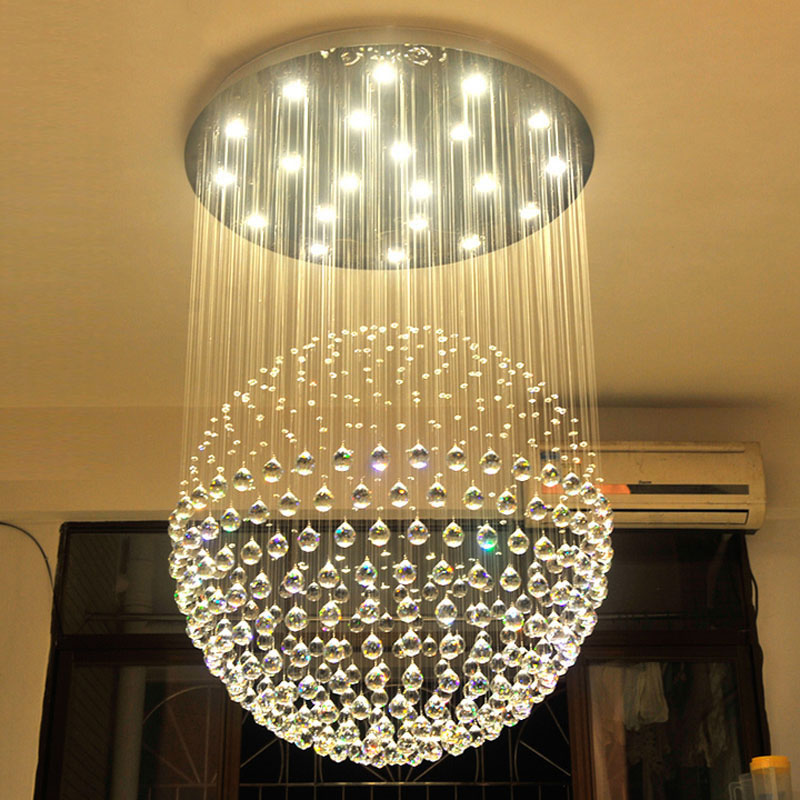 Forme ronde Lampe De Luxe Moderne Lustre En Cristal Lumière Lustres Hall Cristal Lampe Éclairage À La Maison pour Encastré Lumières