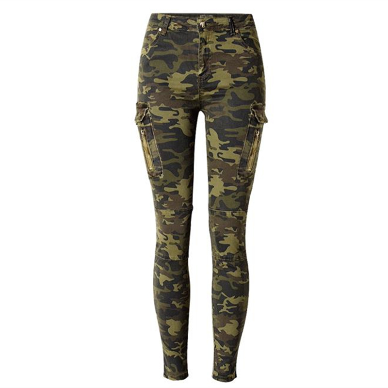 New Fashion Elastic Pencil Pants military Camouflage  jeans for women jeans mujer femme denim jean pants pantalones