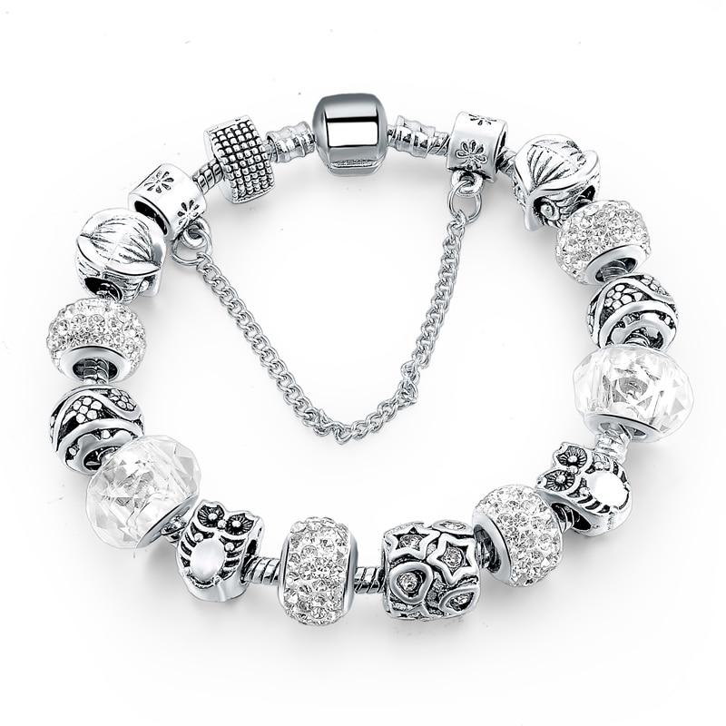 silver plated handmade charm bracelets for women owl star
