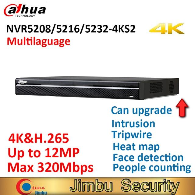 Dahua 4K NVR NVR5208 4KS2 NVR5216 4KS2 NVR5232 4KS2 עד 12Mp H.265 8CH 16CH 32CH תיל ממעיד חדירה פנים זיהוי