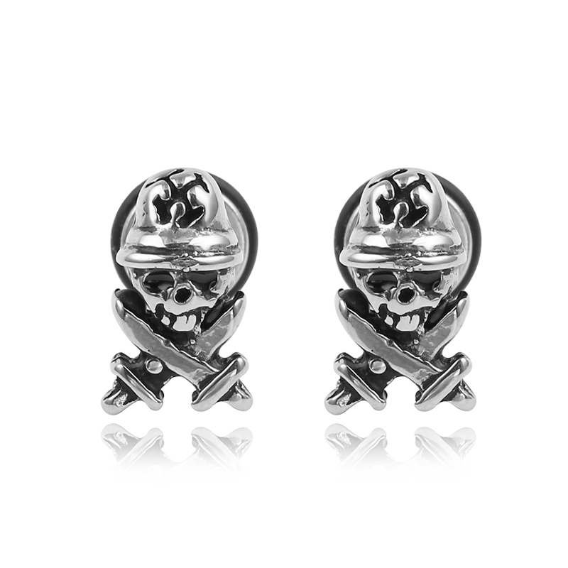 Personality Punk Pirate Stud Earring for Women Men Top Quality Stainlaess Steel Skull Jewelry Vintage Rock Party Accessories