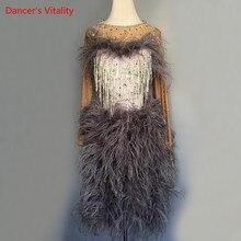 Lüks elmas tüy Latin dans elbise kadın/çocuk/kız Latin Salsa Rumba Samba rekabet elbise performans giyim