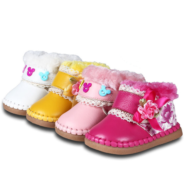 Genuine Leather Baby Boots For Girl Winter Baby Shoes Soft Flower Fur Warm Pink Newborn Baby Girls First Walkers Soft Sole