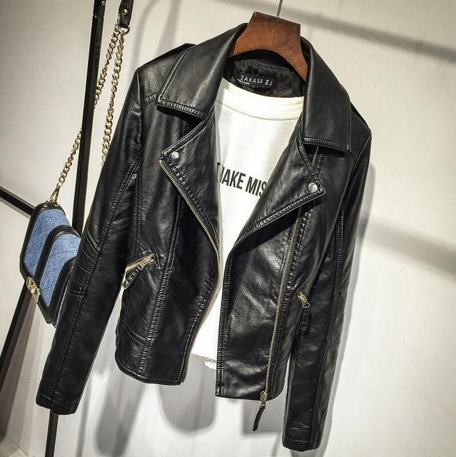 d59b66169 Autumn 2017 female, black thin cool lady jacket artificial leather sweet  Bodycon long sleeve zipper Femme coat plus Sizes