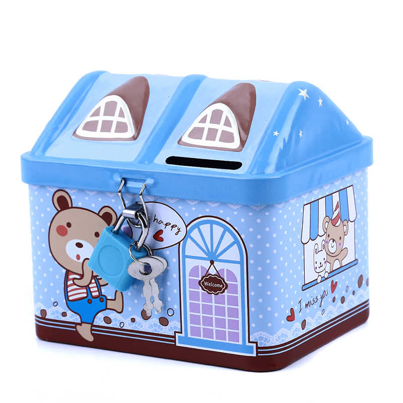 Creative Metal Piggy Bank Coin Money Box Cute Bear House Model Coin Bank Money Save Box Children Kids Birthday Gifts