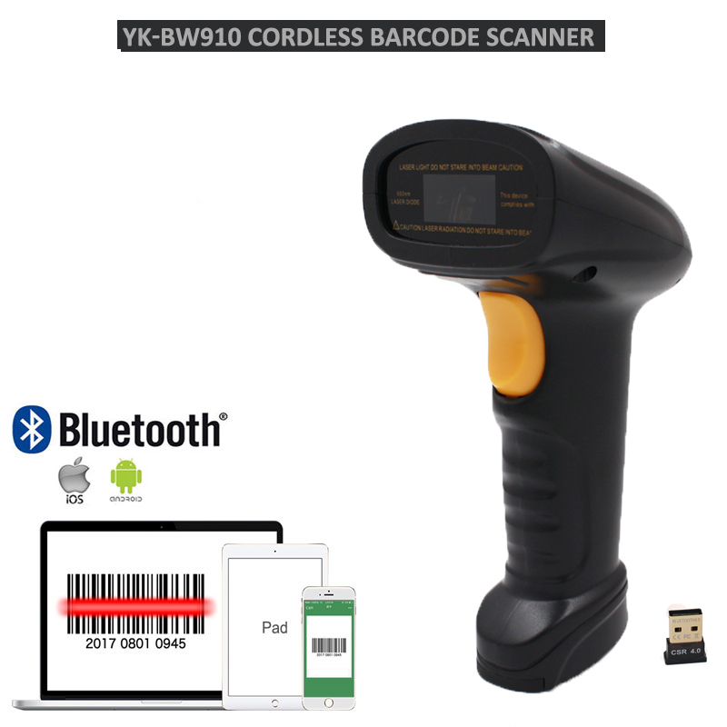 Bluetooth Barcode Scanner Laser Bar Code Reader Wireless Barcode reader USB cable Free shipping BW3