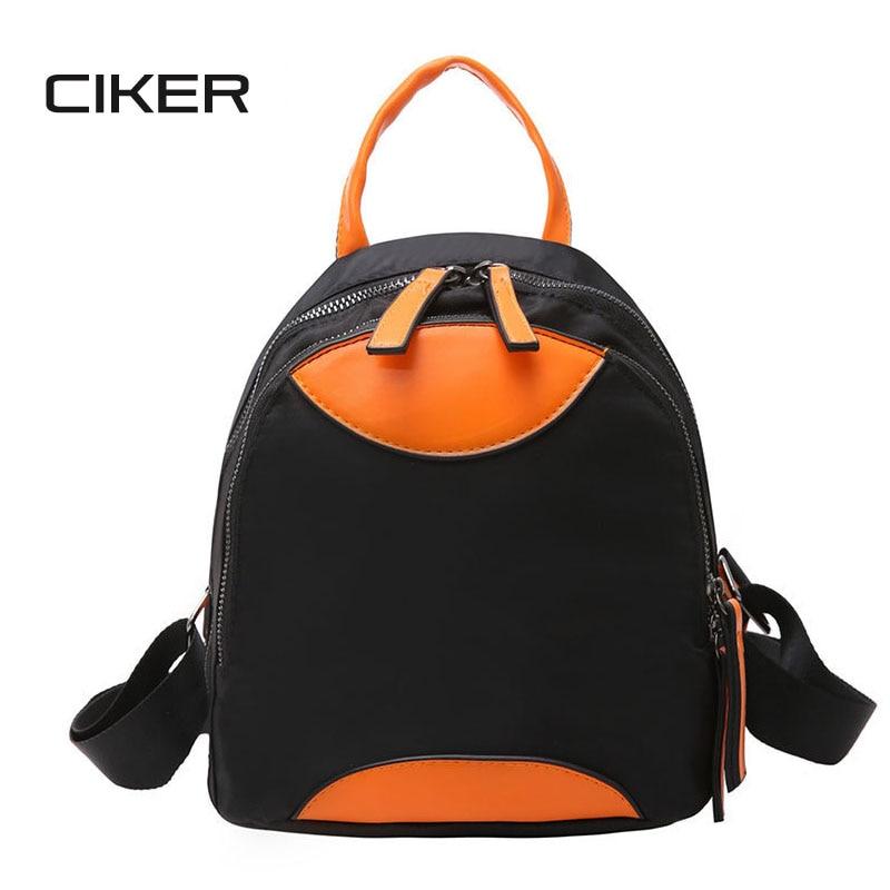 CIKER Women Casual Daypacks Nylon Patchwork Backpack For Teenage Girls School Backbag Female Waterproof Travel Bags