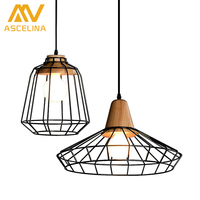 Retro Style Chandeliers Lamps Wood And Iron Black Cage Lampshade Pendant Bar Coffee Dining Room LED