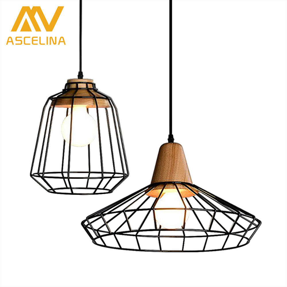 Retro style chandeliers lamps Wood and iron black cage lampshade pendant bar coffee dining room LED hanging light fixture retro style chandeliers lamps wood and iron black cage lampshade pendant bar coffee dining room led hanging light fixture