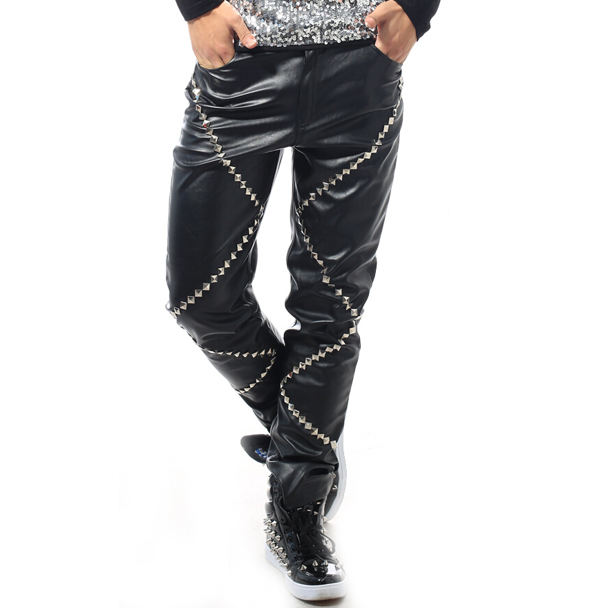 2016 Fashion New Style Men Plus Size Black Red PU Male Singer Dj Ds Costume Rivet Slim Leather Pants Trousers High Quality