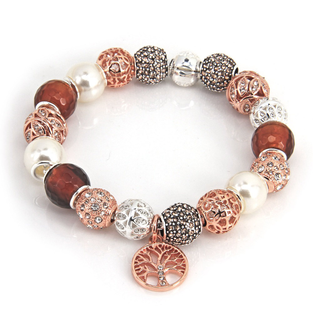 Thomas Style Rose Gold Sun, Pearl and Olive Tree Bracelet Beads with Tree Charm, Fashion Women Bracelet For Women TS B108 gothic style faux crystal rose bracelet with ring for women