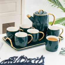 European luxury Ceramic coffee cup set home tea with tray British red [1 Teapot + 6 Cups 1 Tray] Set Gift Box
