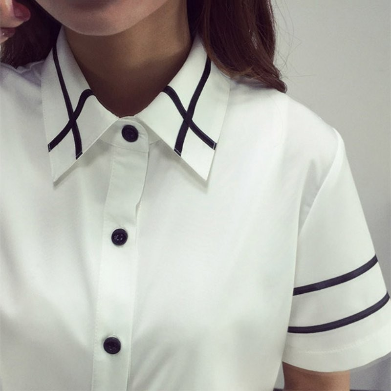HTB1AppPNXXXXXaHXpXXq6xXFXXXM - Fashion Ladies Office Shirt White Blue Tops Formal