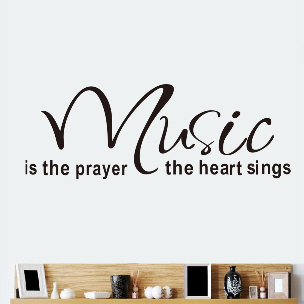 Words Wall Decal Wall Sticker Quotes Music Is The Prayer The Heart