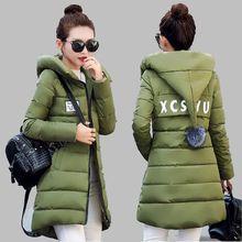 Medium long Cotton-padded Jacket Female Coat Winter 2016 New Slim Hooded Women Fashion Cotton Down Jacket Big yards Coat G1777