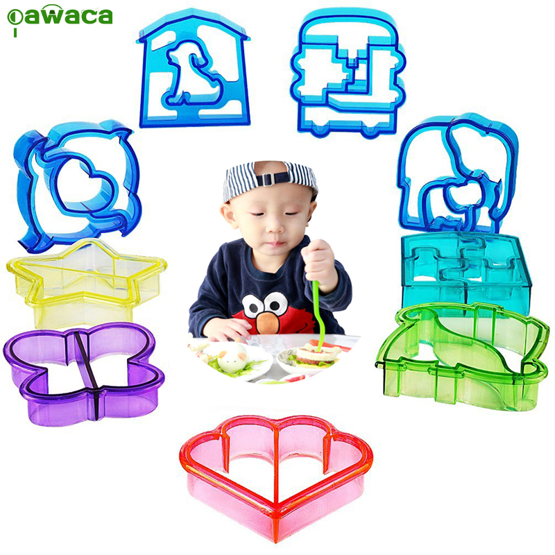 9 unids Sandwich Cutter Mould Set Plastic Animal Star Flower Heart Shapes Cake Pan Toast Cookie Maker Mould para Kid Hornear herramienta