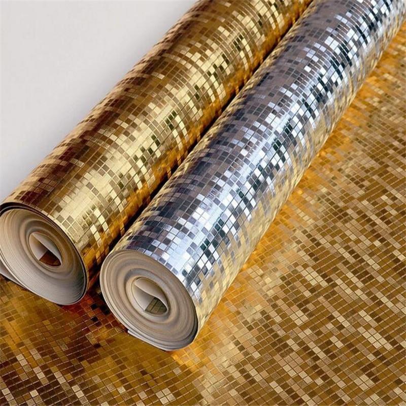 Wellyu or argent mosaïque KTV barre papier peint plafond suspendu brillant feuille d'or papier peint papel de parede para quarto