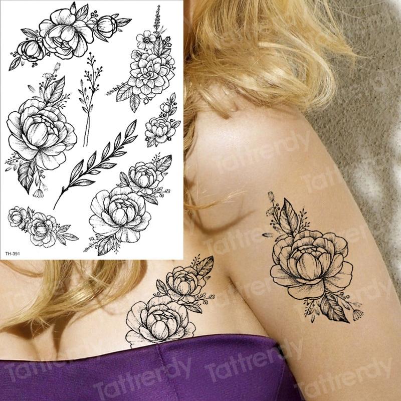 Us 104 30 Offsketch Flower Tatoo Blossom Peony Rose Waterproof Temporary Tattoo Sticker Black Tattoos Body Art Arm Hand Girl Women Fake Tatoo In